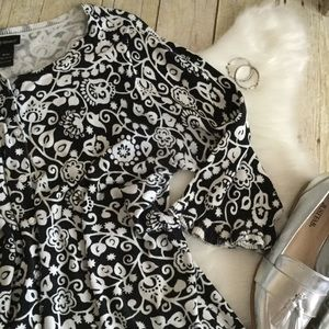 Lane Bryant Sweaters - Lane Bryant Black White Floral Ruffle Cardigan
